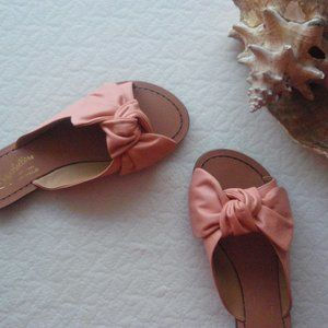Anthropologie | NWOB Pink Knotted Bow Sandal Flats